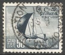 Ceylon. 1958-62 Definitives. Redrawn Inscriptions, 50c Used. SG 459 - Sri Lanka (Ceylon) (1948-...)