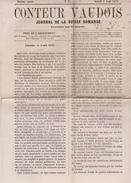 RARE. 1872. LE CONTEUR VAUDOIS, Journal De La Suisse Romande. Lausanne. Louis Monnet. - Journaux - Quotidiens