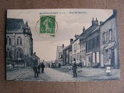 Carte Postale Ancienne 02 Aisne Montcornet Rue Saint Martin Animée - Autres Communes