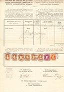 Schweiz Stehende 20Rp, 1Fr, 3Fr. (6) Bienne 31.1.1898 Auf Postverwaltung Bordereau - Lettres & Documents