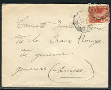France - Cover / Enveloppe De Bessancourt Pour La Suisse En 1915 , Aff. Semeuse Croix Rouge  Ref F63 - Marcophilie (Lettres)