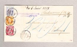 Schweiz Stehende 20Rp, WZ 10 Und 12Rp Cernier 6.6.1889 Brief Nach Valangin (Signiert Moser #66B) - 1882-1906 Armoiries, Helvetia Debout & UPU