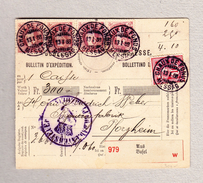 Schweiz Stehende 1Fr (4), WZ 10Rp Chaux-de-Fonds 13.1.1888 Auf Begleit-Adresse Nach Pforzheim - 1882-1906 Armoiries, Helvetia Debout & UPU