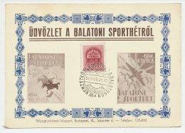 Postcard / Postmark Hungary 1941 International Sports Week At Lake Balaton - Timbres