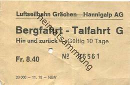 Schweiz - Luftseilbahn Grächen Hannigalp AG - Fahrschein Bergfahrt Talfahrt - Bahn