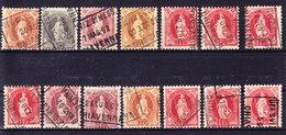 Schweiz Stehende Lot Von 14 Stück Alle Chiavenna Gestempelt - 1882-1906 Wappen, Stehende Helvetia & UPU