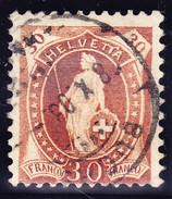 """Schweiz Stehende 30Rp  Zu#68D Gestempelt Buchs 28.10.1903 Plattenfehler """"Helvetta"""" Attest Guinand (Bitte Lesen) - 1882-1906 Wappen, Stehende Helvetia & UPU"""