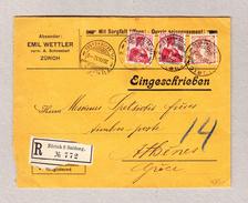 Schweiz Stehende 30Rp  Brustbild 10Rp (2) Zürich 20.12.12 Mischfrankatur R-Brief Nach Athen - Lettres & Documents