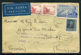 Espagne - Cover / Enveloppe De Valledemosa Par Avion Pour La France Avec Censure De Palma De Mallorca En 1939   Ref F76 - Nationalistische Censuur