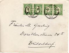 1924 Briefje Van Amsterdam Naar DÜSSELDORF Met Strip Van 4 NVPH 107 - 1891-1948 (Wilhelmine)