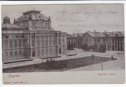Zagreb Theatre And Sokol Home Old Postcard Travelled 1905 To Pozsony (Rosner & Laufer) B170203 - Kroatië