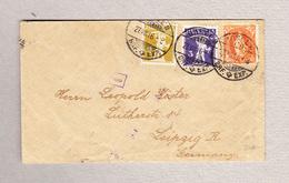 Schweiz Stehende 20Rp Mit 2 Und 3Rp Tellknabe Basel 27.8.1916 Mischfrankatur Brief Nach Leipzig - Suisse
