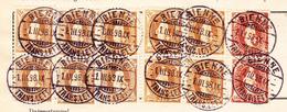 Schweiz Stehende 30Rp (2) 3Fr (10) Bienne 1.3.1898 Auf Postverwaltung-Bordereau - 1882-1906 Stemmi, Helvetia Verticalmente & UPU