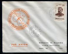 France / Madagascar - Cover / Enveloppe Du XXeme Anniversaire Du Service Aérien Régulier Avec La France En 1955  Ref F95 - Madagascar (1889-1960)