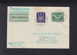 Dt. Reich Flugpost Brief 1925 München Nach Zürich - Luftpost