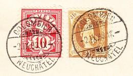 Schweiz Stehende Helvetia 30Rp Mit WZ 10Rp Colombier 2.9.1898 Auf Postverwaltung-Bordereau - 1882-1906 Armoiries, Helvetia Debout & UPU