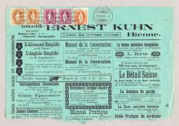 Schweiz Stehende Helvetia 20Rp Und Waagrechtes Paar Je 1 Und 3Fr Biel 17.12.1900 Auf Anzeiger Halbseite - Lettres & Documents