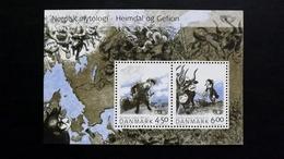 Dänemark 1366/7 Block 22 **/mnh, NORDEN: Nordische Mythen,  Gott Heimdal, Fruchtbarkeitsgöttin Gefion