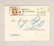 Schweiz Stehende Helvetia 20Rp Bern 31.10.1889 Im Kasten Auf NN Amtsblattbüreau Nach Nidau - 1882-1906 Armoiries, Helvetia Debout & UPU