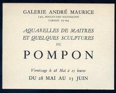 Carton Invitation Galerie André Maurice Paris Sculpteur Pompon Circa 1940    GX36 - Programmes