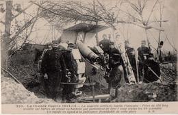 La Grande  Guerre 1914 -15 La Nouvelle Artillerie Lourde Française Pièce De 120  Long Montée Sur Butée De Retour En Batt - Matériel