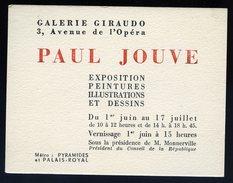 Carton Invitation Galerie Giraudo Paris Avenue De L' Opéra Peintre Paul Jouve 1948   GX36 - Programmes