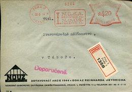 18248 Boemia And Moravia,red Meter/freistempel/ema/ Circuled Registered 1944 From Prag To Tabor - Bohême & Moravie