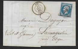 Basses Pyrénées - P.C. 2388  Sur N° 22  Et Cachet Type 15  PAU - Marcophilie (Lettres)