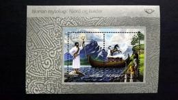 Norwegen 1500/1 Block 25 **/mnh, NORDEN: Nordische Mythen, Meeresgott Njord, Bestattung Balders