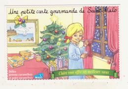 UNE PETITE CARTE GOURMANDE DE SAINT-MALO - CPM - CARTE PUBLICITAIRE - CLAIRE FETE NOEL ET OFFRE SES VOEUX - - Saint Malo