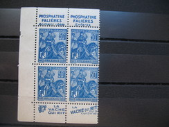 Jeanne D'Arc  N° 257  Type I   Bloc De 4  2 Paires Verticales Pub  Falières  / Vache Qui Rit - Advertising
