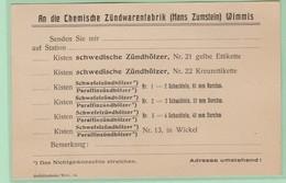 S.20 Entier Postal Repiqué/Zudruck  CP **  Zündwarenfabrik = Allumettes Bois - Entiers Postaux