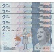 TWN - COLOMBIA NEW - 2000 2.000 Pesos 19.8.2015 (2016) Prefix AA UNC DEALERS LOT X 5 - Colombia