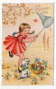 Illustrateur ????-Bonne Fête--fillette,fleurs,chien Et Papillon-- Cpsm 14 X 9  N° 566  éd  Photchrom - Ilustradores & Fotógrafos