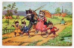 Illustrateur ????-chats Personnifiés--Famille Minet En Excursion,campagne,canne à Pêche,ombrelle,cerceau,oiseau-- - Illustrators & Photographers
