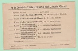 S.20 Entier Postal Repiqué/Zudruck CP** Zündwarenfaabrik Wimmis  = Allumettes Bois - Entiers Postaux