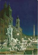 "Roma (Lazio) Piazza Navona, Partic. Fontana Del ""Moro"" Notturno, Detail Navona Square By Night, Navona Platz Bei Nacht - Places"
