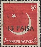 PAKISTAN 1961 Moon Surcahred -  13p. On 2a. - Red  FU