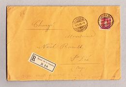 Schweiz Stehende Helvetia 1Fr Perfin Einzelfrankatur Gest. Basel 10.1.1905 R-Brief Nach St Dié Frankreich - 1882-1906 Armoiries, Helvetia Debout & UPU