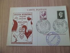 Carte Coq Aviculture Et Apiculture Exposition  Neuilly Sur Marne Le 8/06/1946 Les N°631 Et 677 + Cachets TB ... ! ! - Briefe U. Dokumente