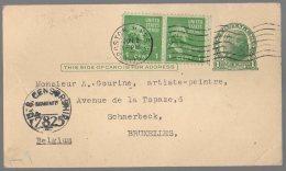 USA POSTCARD 1945 BOSTON TO BELGIUM - US CENSOR - FRENCH WRITING - BB6