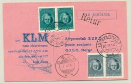 Nederland - 1946 - 1st KLM-flight Van Amsterdam Naar Oslo / Norge - 1891-1948 (Wilhelmine)