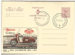 BELGICA ENTERO POSTAL PUBLIBEL MOTOCICLETA MANET JAWA MAT S TRUIDEN KUNST FRUIT 1961 - Motorräder