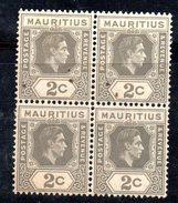 XP2293 - MAURITIUS 1938 , Yvert N. 201  Quartina  ***   Dent  13 1/2 X 14 - Mauritius (...-1967)