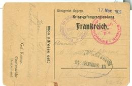 1915 WWI German POW Card To France From Grafenwohr Camp - Militaria