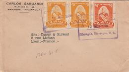 Lettre Managua Nicaragua 20x2&50 Centavos Pour La France Cover - Nicaragua