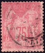 SAGE N° 81 75c. ROSE  N Sous U  OBLITERE CAD B - 1876-1898 Sage (Type II)