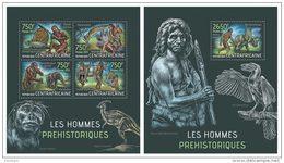 CENTRAL AFRICA 2013 - Prehistoric Humans - YT 2842-5 + BF571; CV = 32 €