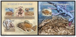 CENTRAL AFRICA 2015 - Fossils And Dinosaurs, M/S + S/S Official Issue