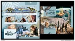 MOZAMBIQUE 2012 - Darwin, Dinosaurs, Meteorits - YT 4891-6 + BF591, Mi 5867-72 + B647
